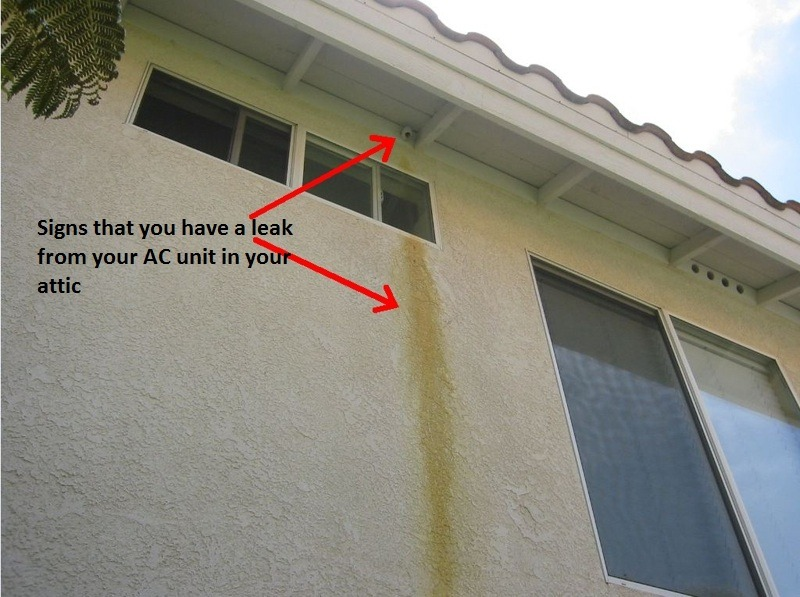 Signs of an air conditioning drain pipe leaking in San Diego