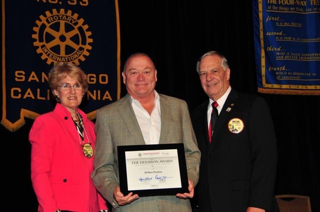 Bill Howe accepting the 2012 San Diego Rotary Club Heilbron Award