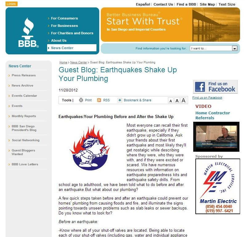 San Diego BBB Blog: How to prepare your plumbing for earthquakes, by Bill Howe